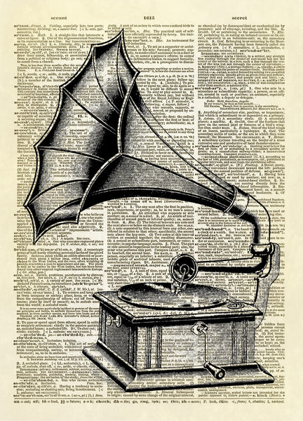 Antique Gramophone Dictionary Art Print