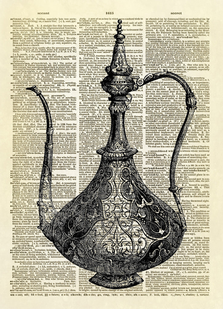 Antique Coffee Parisian Coffee Pot Dictionary Art Print