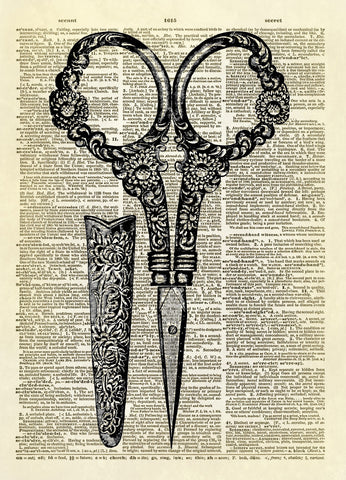 Antique Sewing Scissors Dictionary Art Print