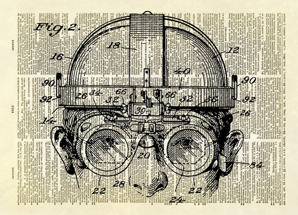 Welding Goggles Patent Drawing Dictionary Art Print