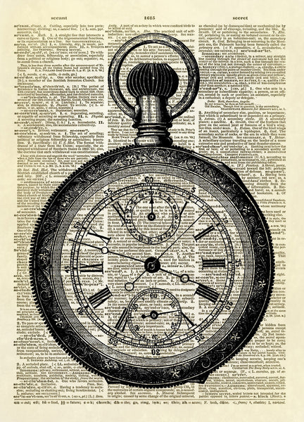 Antique Pocket Watch Dictionary Art Print