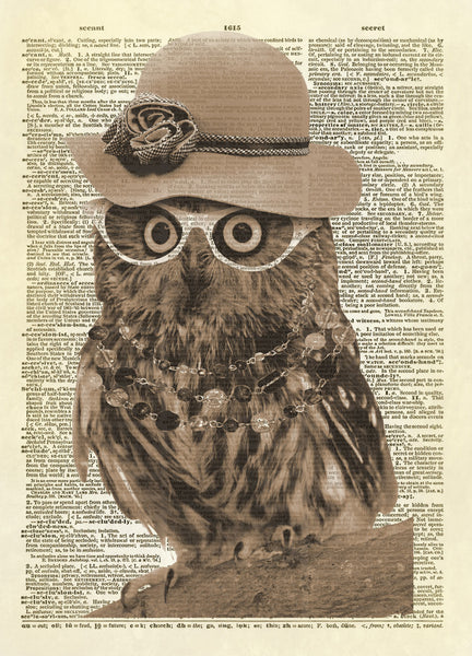 Lady Owl Art with Hat and Glasses Dictionary Art Print
