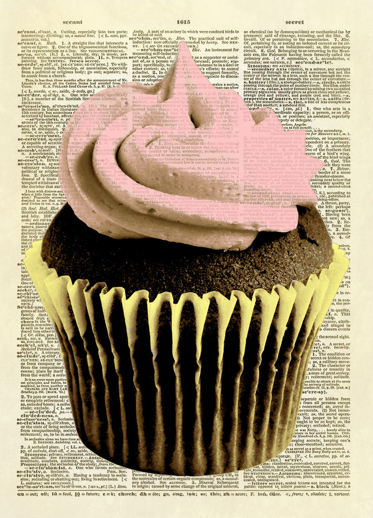 Color Chocolate Cupcake with Pink Frosting Dictionary Art Print