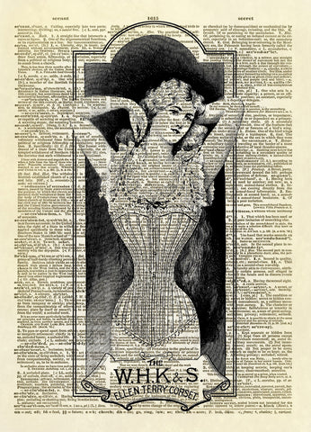 Antique Ladies Corset Ad Dictionary Art Print