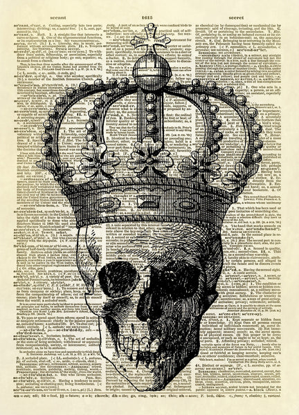 Skull with Royal Crown Dictionary Art Print