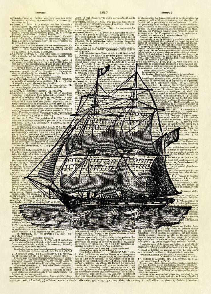 Brig Ship Dictionary Art Print