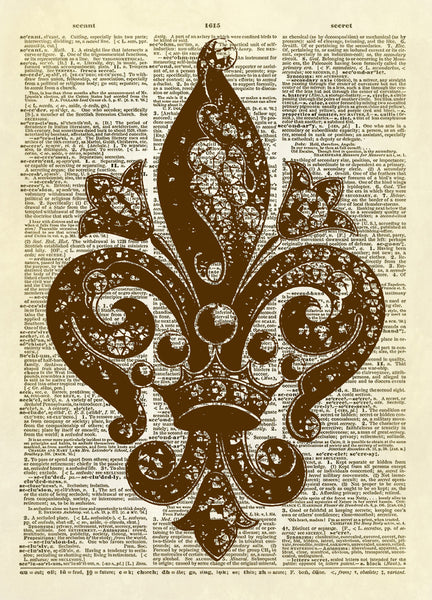 Fleur de Lis Antique Jewelry Dictionary Art Print