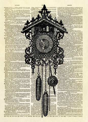 Antique Cuckoo Clock Dictionary Art Print