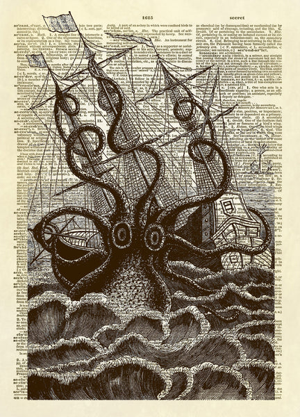 Giant Octopus Squid Attacking Ship Dictionary Art Print