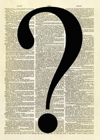 Question Mark Symbol Dictionary Art Print