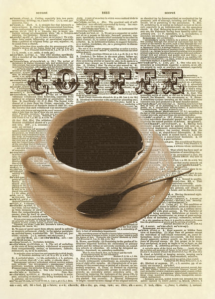 Cup of Coffee Kitchen Dictionary Art Print