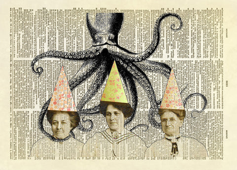 Eminent Danger Ladies with Octopus Dictionary Art Print