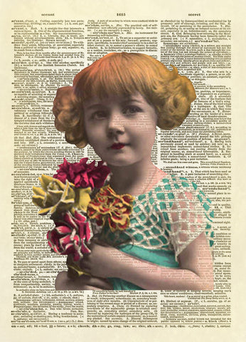 Antique Little Girl Photo Dictionary Art Print