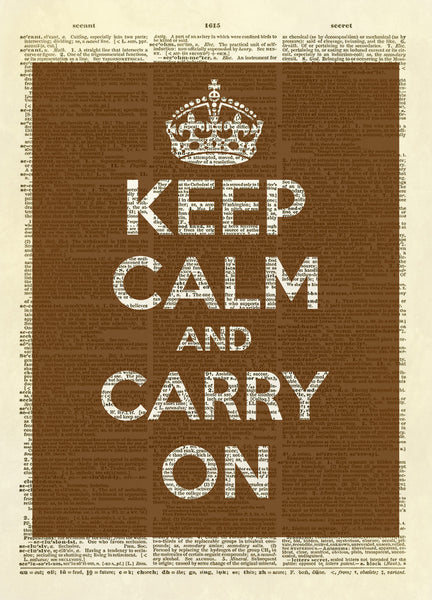 Keep Calm and Carry On (Color Version) Dictionary Art Print