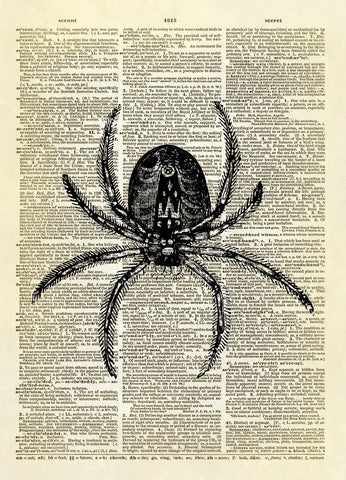 Creepy Spider Halloween Dictionary Art Print