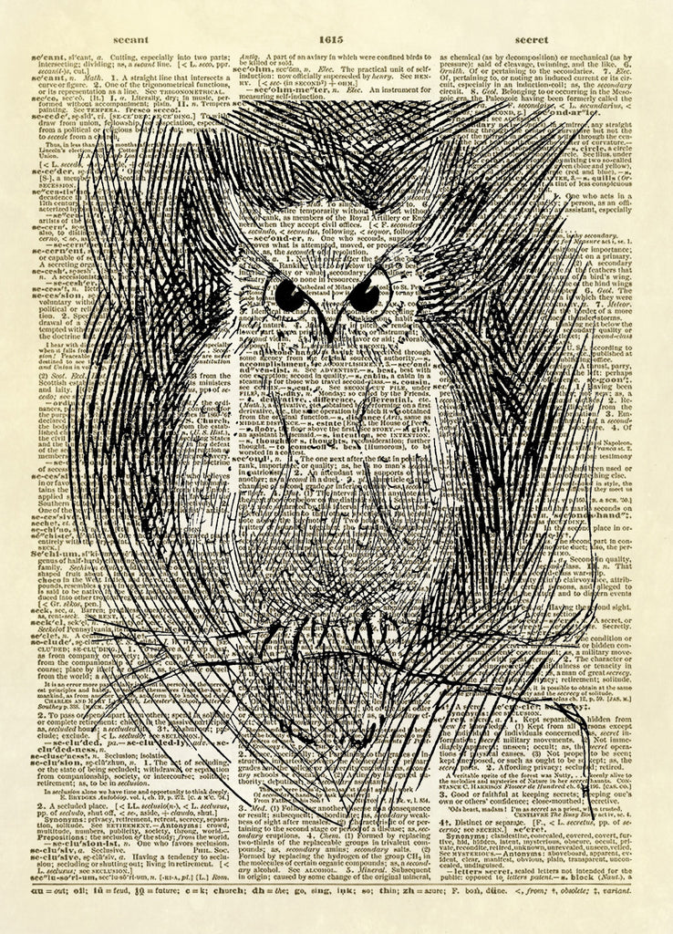 Little Owl Art Dictionary Art Print