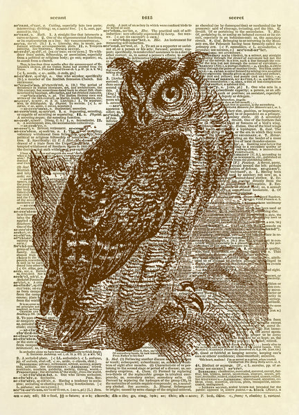 Great Horned Owl Dictionary Art Print