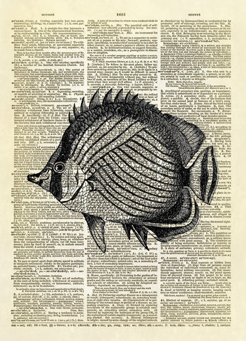 Butterfly Fish Dictionary Art Print