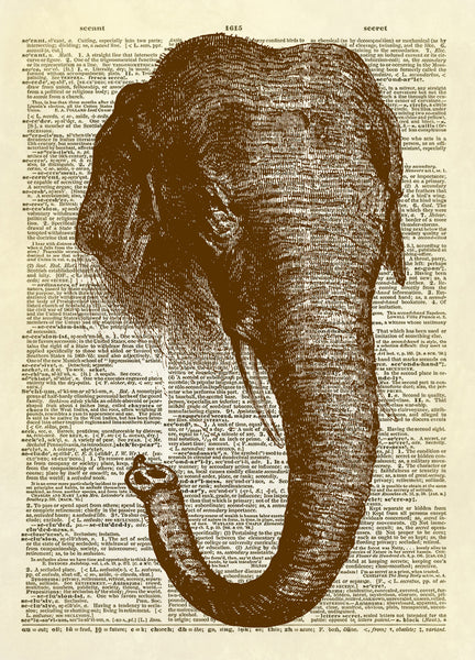 Long Trunk Elephant Art Dictionary Art Print