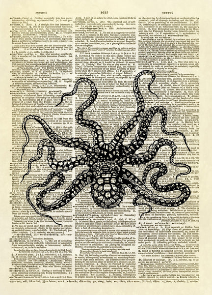 Squiggly Octopus Ocean Art Dictionary Art Print