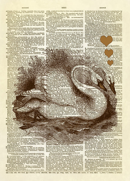 Swans in Love Dictionary Art Print