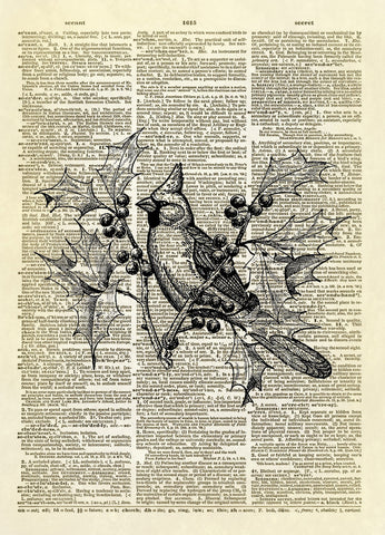 Cardinal Bird in Holly Bush Dictionary Art Print