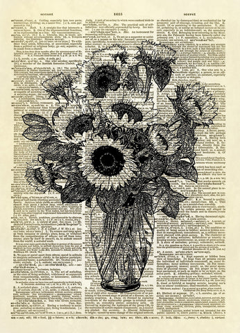 Vase of Sunflowers Floral Dictionary Art Print