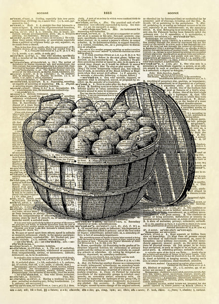 Bushel Basket of Peaches Dictionary Art Print