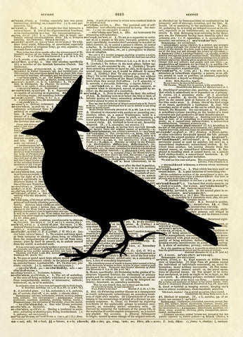 Witch Bird Silhouette Halloween Dictionary Art Print