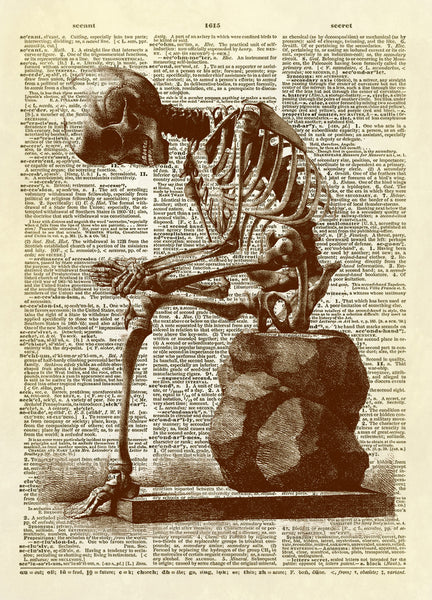 Sitting Skeleton Halloween Dictionary Art Print