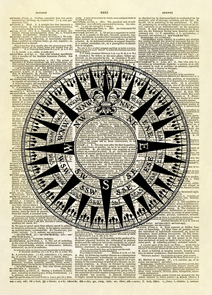 Antique Compass Rose Dictionary Art Print
