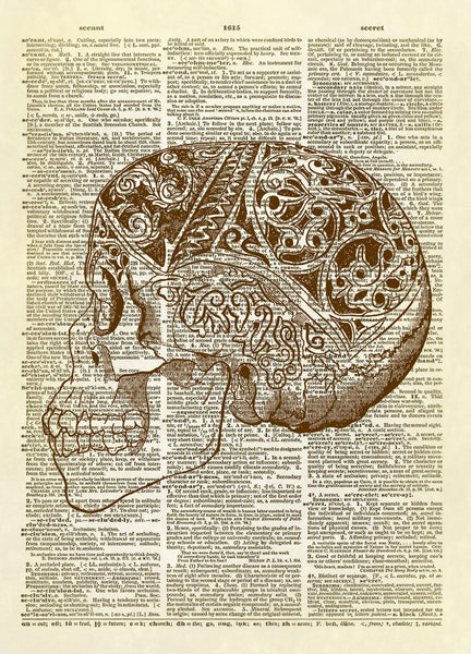 Decorated Human Skull Dictionary Art Print