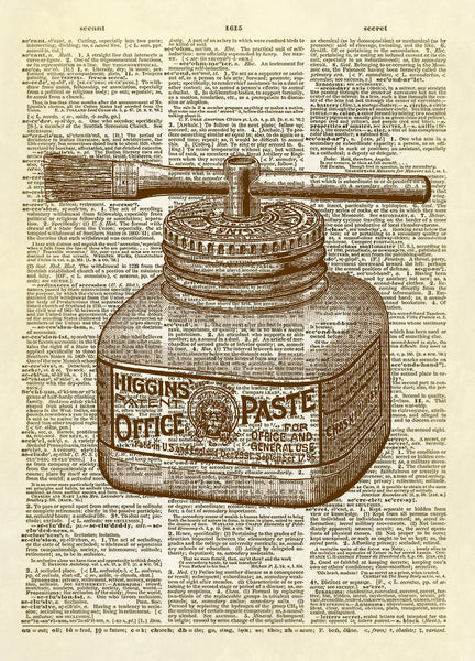 Office Supply School Paste Glue Dictionary Art Print