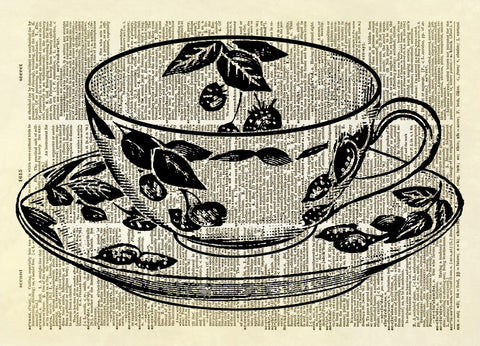 Antique Tea Cup Dictionary Art Print