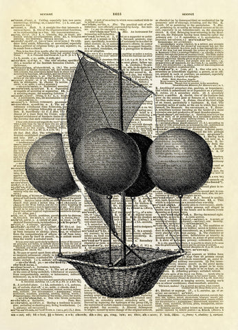 Steampunk Balloon Flying Machine Dictionary Art Print