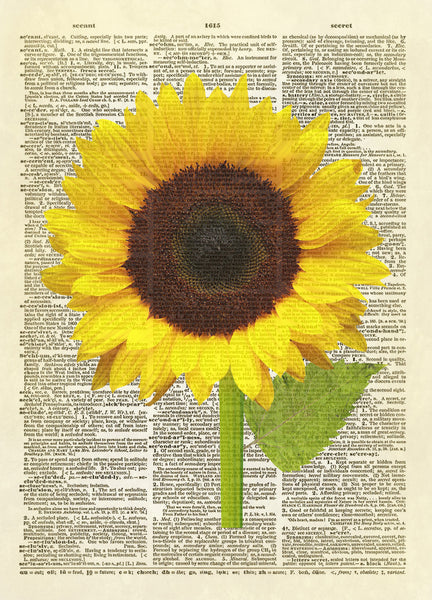 Large Sunflower Dictionary Art Print