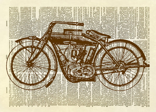 Antique Motorcycle Dictionary Art Print