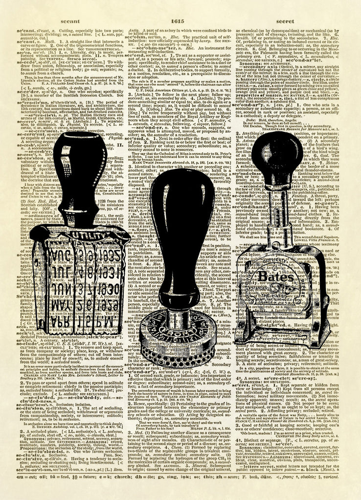 Office Supplies Rubber Stamp Trio Dictionary Art Print