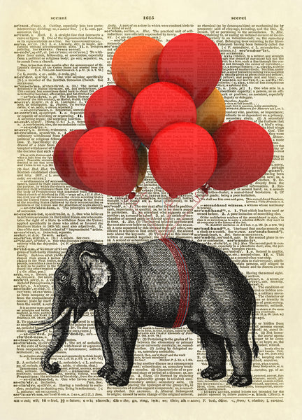 Elephant Carried by Balloons Dictionary Art Print