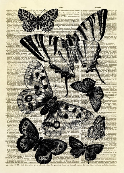 Seven Butterflies Dictionary Art Print