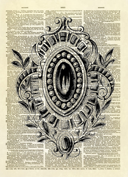 Fancy Antique Oval Brooch Dictionary Art Print
