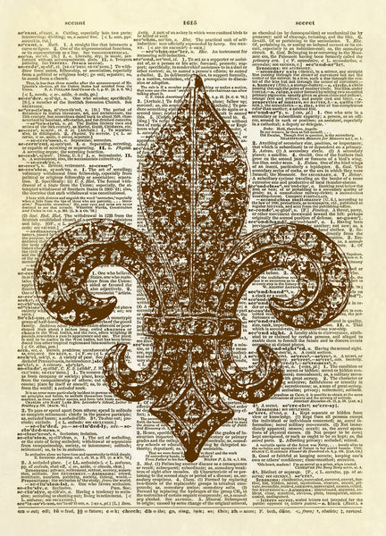 Fleur de Lis Sparkle Brooch Dictionary Art Print