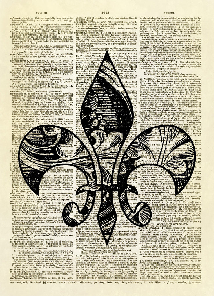 Patterned Fleur de Lis Dictionary Art Print