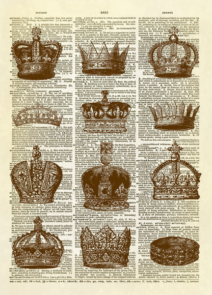 Twelve  Royal Crowns Dictionary Art Print