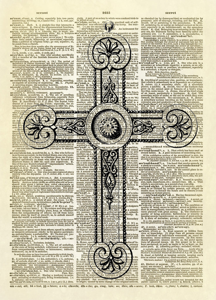 Christian Cross Pendant Dictionary Art Print