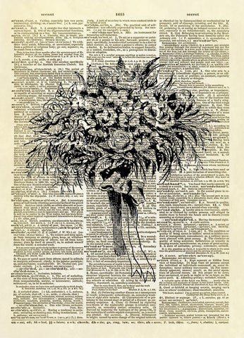 Wedding Floral Bouquet Dictionary Art Print
