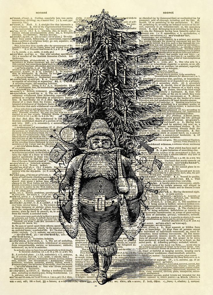 Christmas Santa Carrying Pack and Tree Dictionary Art Print