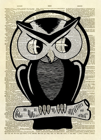 Halloween Owl Art Dictionary Art Print