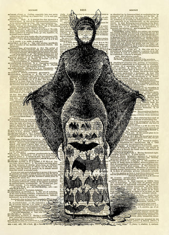 Bat Woman Halloween Costume Dictionary Art Print