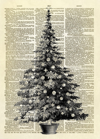 Christmas Tree Dictionary Art Print